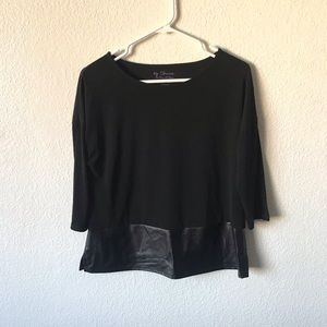 Chico's stretchy black faux leather trim top